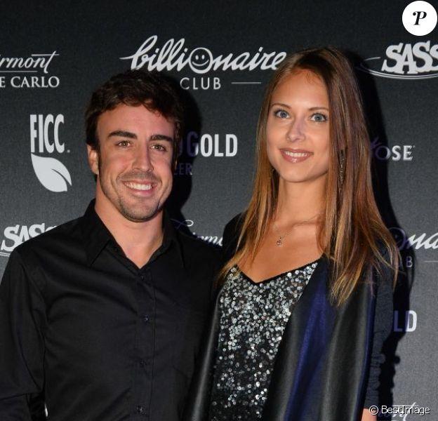 Fernando Alonso et sa douce Dasha Kapustina lors d'une soirée au Billionaire, club de Flavio Briatore, situé au Fairmont Hotel de Monte Carlo le 26 mai 2013
