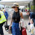 Exclusif - Nicole Sherzinger arrive à l'aéroport de Glasgow pour assister aux auditions de l'émission X Factor. Le 3 Juin 2013.