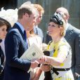 Zara Phillips et son cousin le prince William lors de la cérémonie pour les 60 ans du couronnement de la reine Elizabeth II, le 4 juin 2013 en l'abbaye de Westminster.