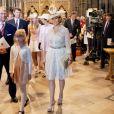 Le prince Edward et Sophie, comtesse de Wessex avec leur fille Louise lors de la cérémonie pour les 60 ans du couronnement de la reine Elizabeth II, le 4 juin 2013 en l'abbaye de Westminster.