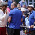 Yannick Noah en compagnie de Guy Forget et Henri Leconte, le 5 juin 2013, à l'occasion du 30e anniversaire de sa victoire à Roland-Garros