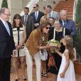 Le prince Albert II de Monaco et la princesse Caroline de Hanovre étaient présents au côté de la veuve de Léo Ferré, Marie-Christine, venue de Toscane avec son fils Mathieu et ses petits-enfants Charlotte et Nicolas, le 11 juin 2013 à Monaco pour le baptême de l'Espace Léo-Ferré, ex-Salle du Canton.