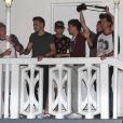 Harry Styles, Liam Payne, Niall Horan, Zayn Malik et Louis Tomlinson, du groupe One Direction quittent un studio après une journée d'enregistrement à Miami, le 12 juin 2013.