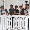 Harry Styles, Liam Payne, Niall Horan, Zayn Malik et Louis Tomlinson, les cinq garçons du groupe One Direction quittent un studio après une journée d'enregistrement à Miami, le 12 juin 2013.