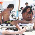 Exclusif - Le footballeur Amauri en vacances à Miami avec son fils Hugo et sa fille Cindy, le 26 Juin 2013.