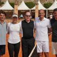 Arnaud Boetsch, Caroline Wozniacki, Prince Albert II de Monaco, Guy Forget et Andre Muhlberger, lors d'un match de tennis au tournoi Rolex Master de Monte Carlo, le 17 avril 2011.