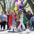 Les acteurs de Glee sur le tournage de la 3e saison à New York, le 26 avril 2011.