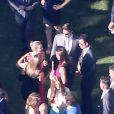 Mariage de Jimmy Kimmel et Molly McNearney à Ojai, le 13 juillet 2013. Ici on peut voir Jennifer Garner, Jennifer Aniston, Justin Theroux discuter ensemble.