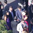 Mariage de Jimmy Kimmel et Molly McNearney à Ojai, le 13 juillet 2013. Ici on peut voir Ben Affleck, Jennifer Garner, Matt Damon et sa femme discuter ensemble.