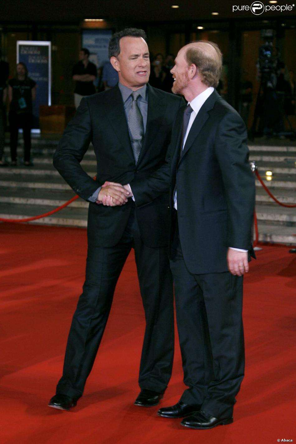 Tom Hanks et le réalisateur Ron Howard lors de la présentation d'Anges et démons à Rome le 4 mai 2009