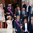 """La princesse Mathilde et le prince Philippe qui seront dans quelques heures les nouveaux roi et reine des Belges - après le """"Te Deum"""" en la cathédrale Saints-Michel-et-Gudule à Bruxelles, le 21 juillet 2013."""