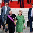 """La reine Paola et le roi Albert II de Belgique - après le """"Te Deum"""" en la cathédrale Saints-Michel-et-Gudule à Bruxelles, le 21 juillet 2013."""