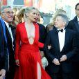 """Roman Polanski et ses acteurs Emmanuelle Seigner et Mathieu Amalric - Montée des marches du film """"La Vénus à la fourrure"""" lors du 66e Festival de Cannes, le 25 mai 2013."""