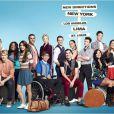 """Cory Monteith entouré de tous les acteurs de """"Glee"""". Poster promo de la saison 4 (2012-2013)"""
