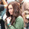 """Megan Fox sur le tournage du film """"TMNT"""" à New York, le 22 juillet 2013."""