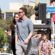 Megan Fox, Brian Austin Green et le fils de l'acteur, Kassius, à Los Angeles, le 15 juillet 2012.