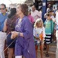 La reine Sofia d'Espagne à Majorque, Espagne, le 2 août 2013.