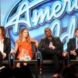 Steven Tyler, Jennifer Lopez, Randy Jackson et Ryan Seacres, conférence de presse d'American Idol, à Los Angeles, le 8 janvier 2012.