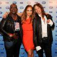 Steven Tyler, Jennifer Lopez et Randy Jackson à la conférence de presse d'American Idol, à Los Angeles, le 8 janvier 2012.