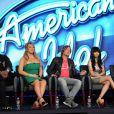 Randy Jackson, Mariah Carey, Keith Urban, Nicki Minaj et Ryan Seacrest à la conférence de presse de la 12e saison d'American Idol, à Los Angeles, le 8 janvier 2013.