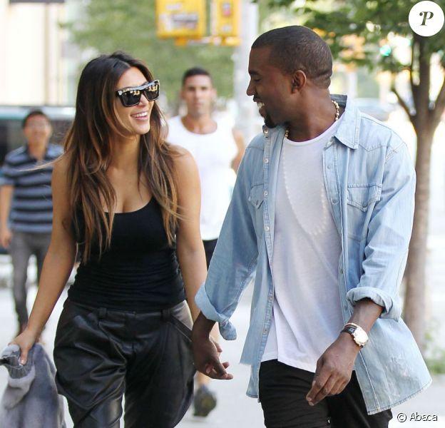 Kim Kardashian et Kanye West à New York en août 2012.