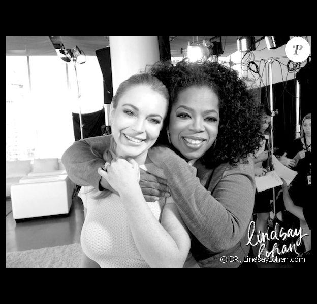 Lindsay Lohan et Oprah Winfrey, après leur interview. Photo postée sur le site de l'actrice.