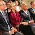 Albert II de Monaco et son épouse Charlene se sont rendus à Paroldo en Italie, le 18 août 2013. Le souverain a été fait Citoyen d'honneur de la ville avant d'aller assister avec la princesse à un concert dans l'église du village.