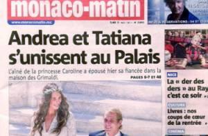 Mariage d'Andrea Casiraghi et Tatiana : Superbes époux dans le palais princier