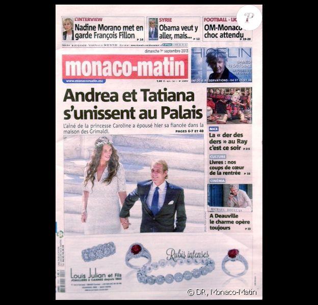 Le quotidien Monaco Matin dévoile une photo du mariage d'Andrea Casiraghi avec Tatiana Santo Domingo, noce qui s'est déroulée le 31 août 2013 à Monaco