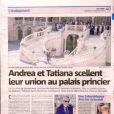 Le quotidien Monaco Matin dévoile une photo et un article sur le mariage d'Andrea Casiraghi avec Tatiana Santo Domingo, noce qui s'est déroulée le 31 août 2013 à Monaco