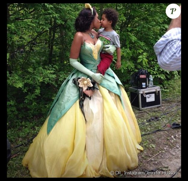 Jennifer Hudson et son fils David, au shooting Disney, le 22 août 2013.