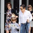 Peter Morton, en compagnie de Linda Evangelista et son fils Augustin James à New York. Mai 2012.