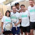 Estelle Denis, Jean-Pierre Papin, Fabrice Santoro, Denis Brogniart et Yannick Noah à Metz le 17 septembre 2013.