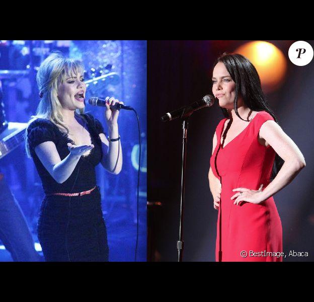 À gauche, Duffy en concert à Milan le 13 novembre 2008. À droite, Duffy à New York, le 19 septembre 2013.