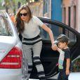 Miranda Kerr et son fils Flynn à New York, le 20 Septembre 2013.