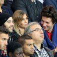 Tahar Rahim, Alexandra Rosenfeld et son compagnon Jean Imbertlors dePSG - Monaco au Parc des Princes le 22 septembre 2013.