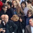 Nicolas Sarkozy, Jean Sarkozy et sa femme Jessicalors dePSG - Monaco au Parc des Princes le 22 septembre 2013.