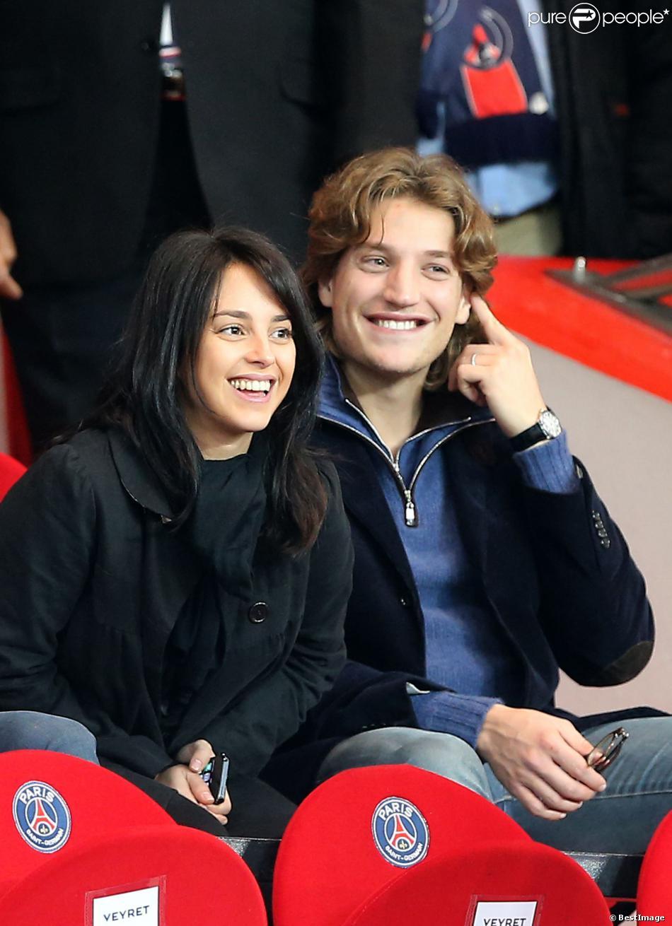 Jean Sarkozy et sa femme Jessica lors de PSG - Monaco au Parc des Princes le 22 septembre 2013.
