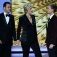 Neil Patrick Harris, Jimmy Kimmel et Janet Lynch lors des 65e Primetime Emmy Awards à Los Angeles, le 22 septembre 2013.