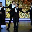 Jimmy Kimmel, Conan O'Brien, Jimmy Fallon et Neil Patrick Harris lors des 65e Primetime Emmy Awards à Los Angeles, le 22 septembre 2013.