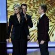 Jimmy Kimmel, Neil Patrick Harris et Janet Lynch lors des 65e Primetime Emmy Awards à Los Angeles, le 22 septembre 2013.