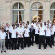 FrançoisHollande, Tony Parker et l'équipe de France de basketau palais de l'Élysée le 23 septembre 2013