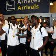 L'Equipe de France de basket à l'aéroport Charles de Gaulle à Paris, le 23 septembre 2013.