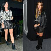 Katy Perry vs Jessica Alba : Qui porte le mieux la petite jupe en cuir ?