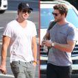 """Exclusif - Liam Hemsworth s'est rasé la barbe pour le tournage du film """"Hunger Games : La Révolte, partie 1"""" à Atlanta, le 20 septembre 2013."""
