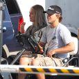 """Exclusif - Julianne Moore, les cheveux longs et gris sur le tournage du film """"Hunger Games : La Révolte, partie 1"""" à Atlanta, le 21 septembre 2013."""