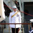Le prince Harry à Sydney le 4 octobre 2013 lors d'une revue et d'une parade marquant le centenaire de l'indépendance de la Marine royale australienne.