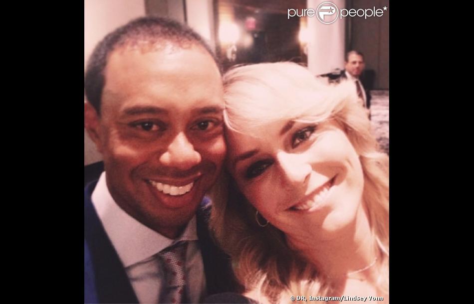 Tiger Woods et Lindsey Vonn lors de la soirée d'ouverture de la Presidents Cup à Dublin dans l'Ohio