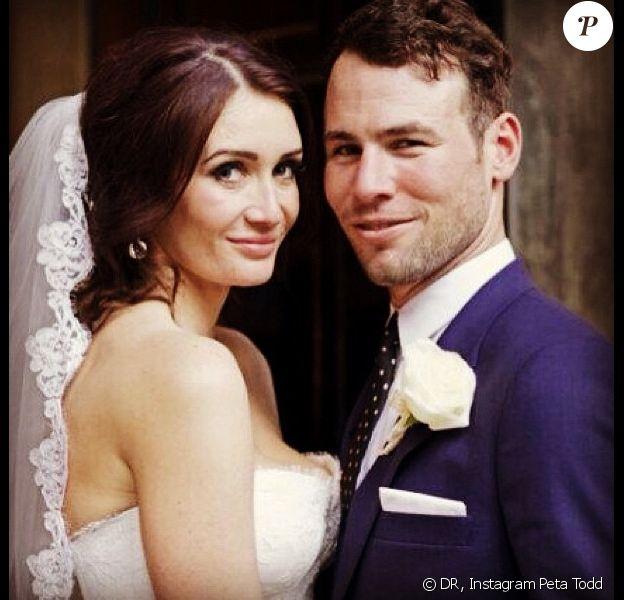 Mark Cavendish et Peta Todd lors de leur mariage samedi 5 octobre 2013 à Londres.