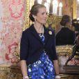 L'infante Elena d'Espagne lors de la réception au palais royal pour la fête nationale de l'Espagne à Madrid, le 12 octobre 2013.